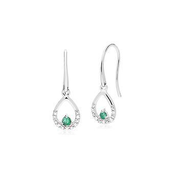 Gemondo 9ct Weißgold einzelne Emerald & Diamant Pear Tropfen Ohrringe