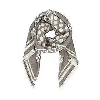 pieces of fluffy ladies wool scarf in ethno-look grey