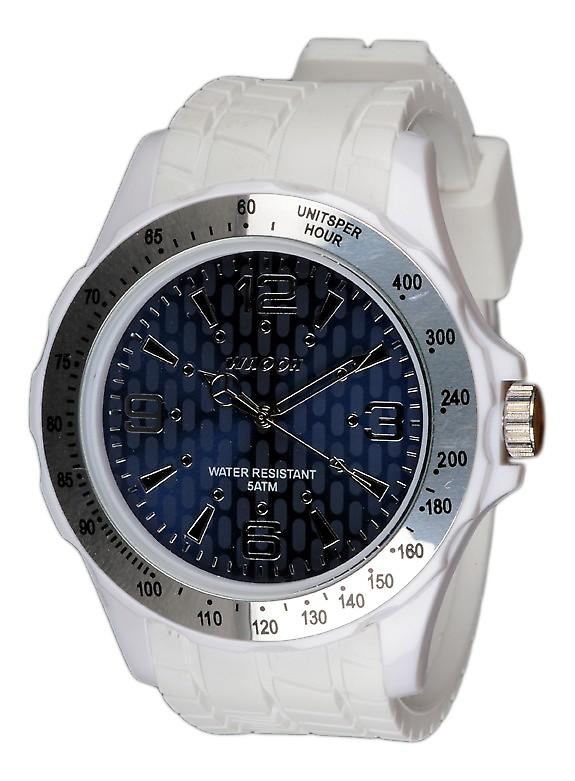Waooh - White Bezel Watch A Silver And A Blue Dial A Black Tabs Gpm48 Inspired From Monaco Grand Prix