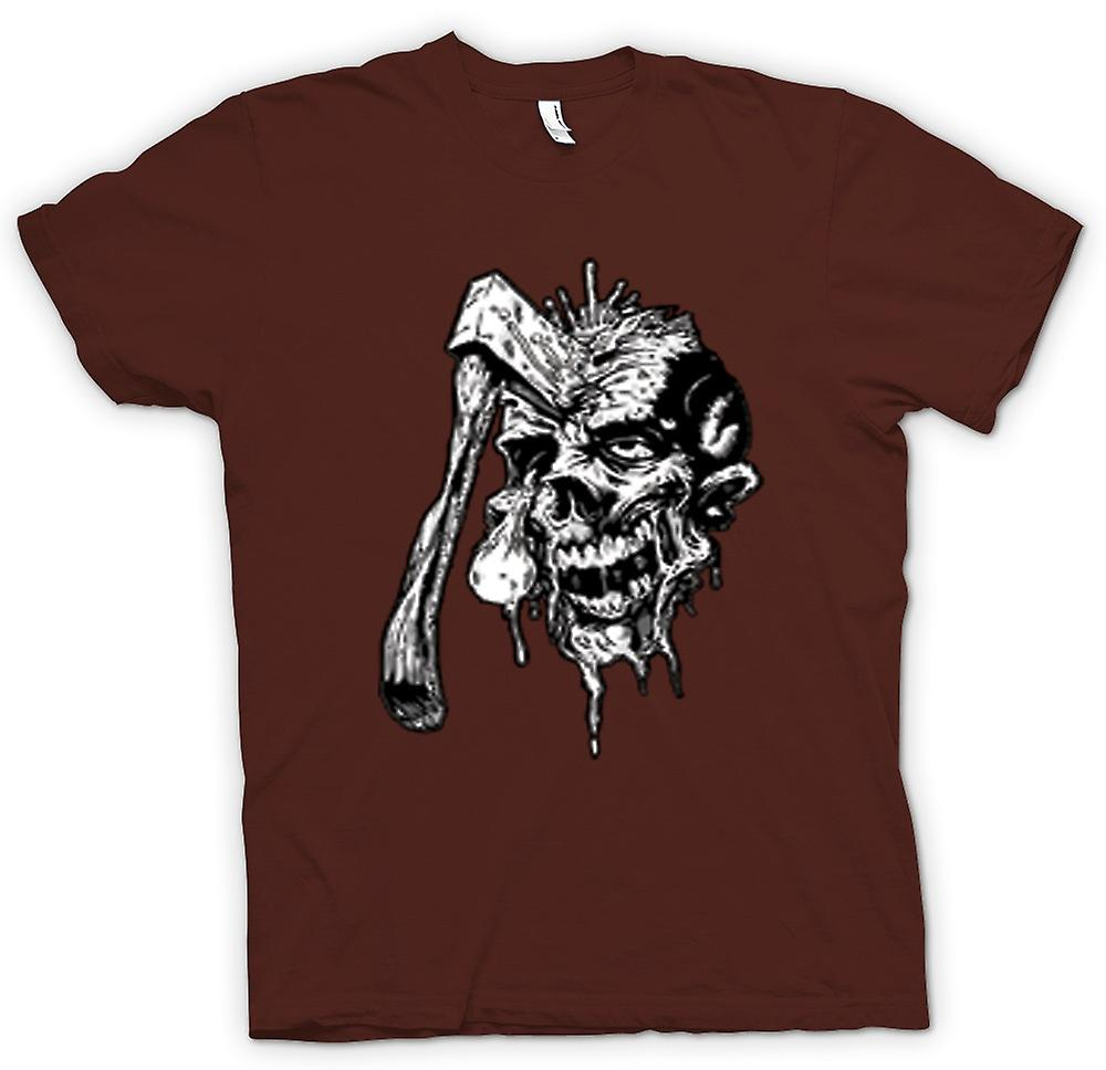 Mens T-shirt - Axed Zombie Skull Black & White Design