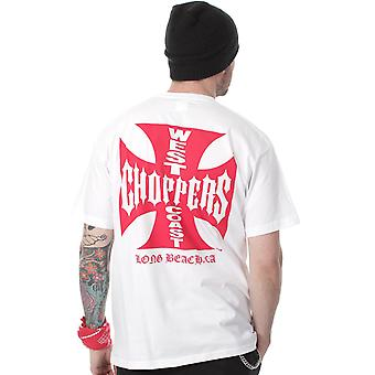 West Coast Choppers White-Red Iron Cross T-Shirt