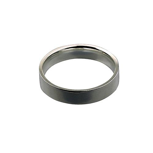 Platinum 5mm plain Flat Court shaped Wedding Ring