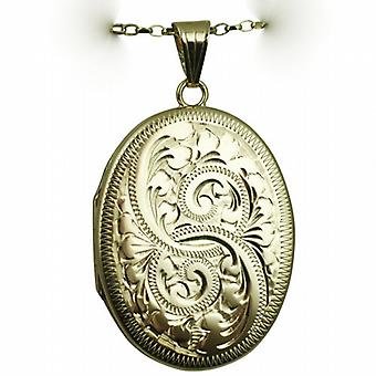 9ct Gold 35x26mm flat oval hand engraved Locket with a belcher Chain 24 inches