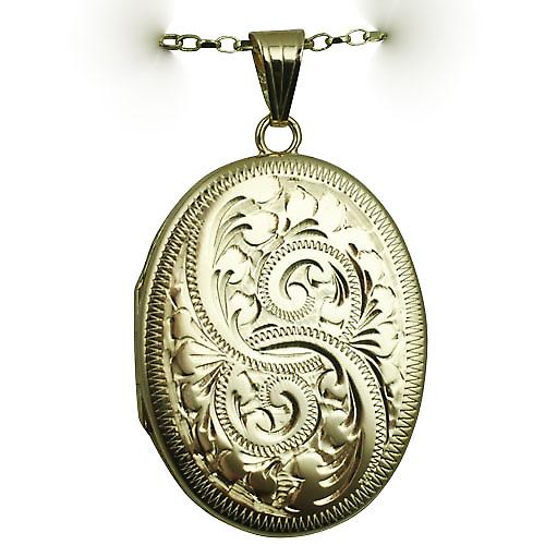 9ct Gold 35x26mm flat oval hand engraved Locket with a belcher Chain 16 inches Only Suitable for Children