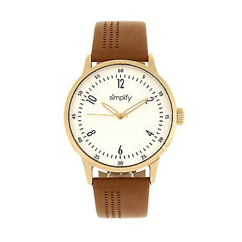 Simplify The 5700 Leather-Band Watch - Brown