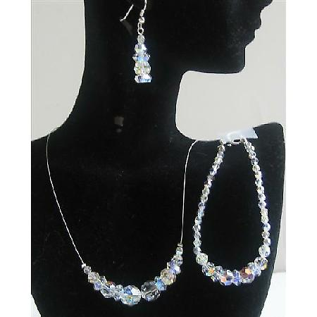 AB Round Swarovski Crystals Jewelry Set Bridal Jewelry