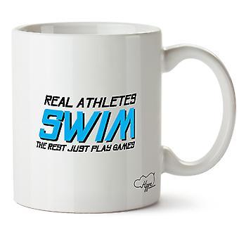 Hippowarehouse Real idrettsutøvere svømme resten bare spille spill trykte krus Cup keramiske 10 Unzen