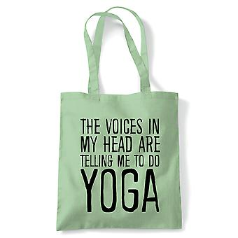 Voices In My Head Do Yoga Tote | Reusable Shopping Cotton Canvas Long Handled Natural Shopper Eco-Friendly Fashion | Gym Book Bag Birthday Present Gift | Multiple Colours Available