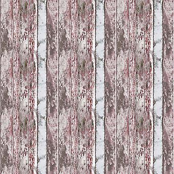 Painted Rustic Wood Wallpaper Distressed Red White Textured Paste Wall Vinyl