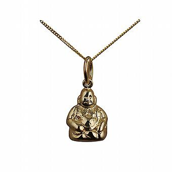 9ct Gold 11x9mm Buddha Pendant with a curb Chain 16 inches Only Suitable for Children