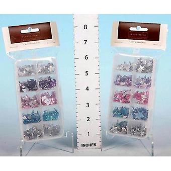 Assortiti colori Star/ovale diamanti In scatola di immagazzinaggio - 4 confezioni per ogni set - (420141)