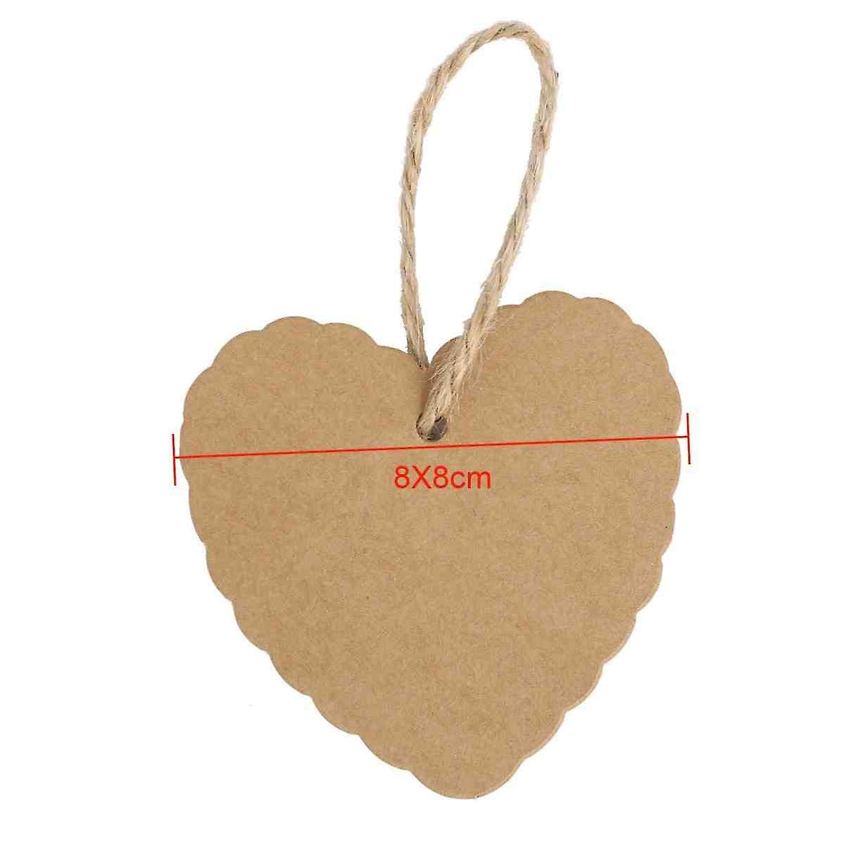 100 X Heart Shape Gift Tags Paper Chains Labels Valentine Party Personalised Labels + 20m String