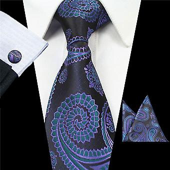 Green two tone pattern necktie cuff link & pocket square