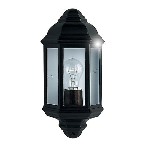 Searchlight 280BK Traditional Outdoor Half Round Wall Light Lantern. Cast Aluminium