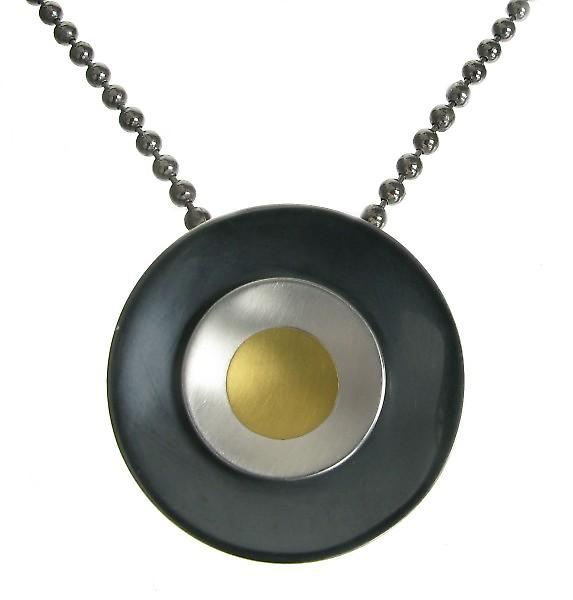 Cavendish French Oxidised Sterling Silver and Gold Rings Pendant
