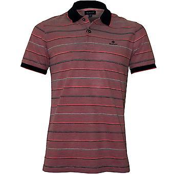 Gant Oxford Stripe Pique Rugger Polo Shirt, Watermelon Red