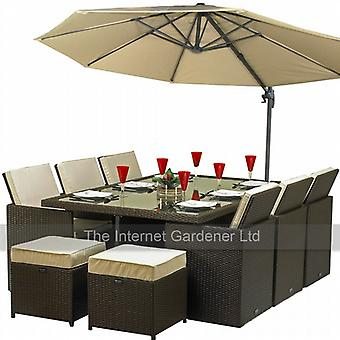 Royalcraft Cannes Mocha 6 Seater Rattan Cube Set With Parasol Hole