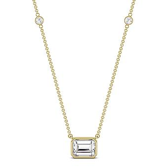 14K Yellow Gold Moissanite by Charles & Colvard 8x6mm Emerald Pendant Necklace, 1.87cttw DEW