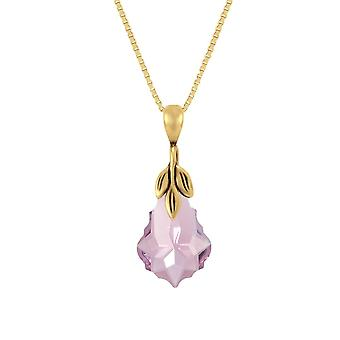 Eternal Collection Baroque Light Amethyst Crystal 14ct Gold Vermeil Pendant Necklace