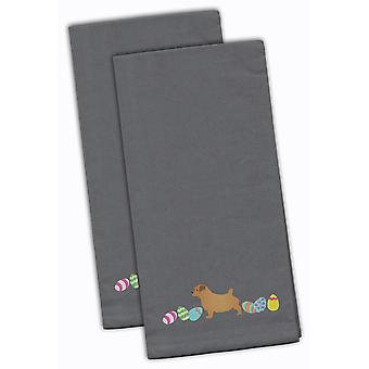 Norfolk Terrier Easter Gray Embroidered Kitchen Towel Set of 2