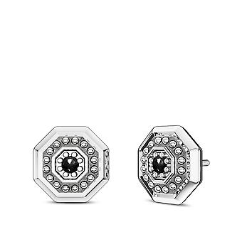 UFC - Deluxe UFC Octagon Black Diamond Earrings In Sterling Silver