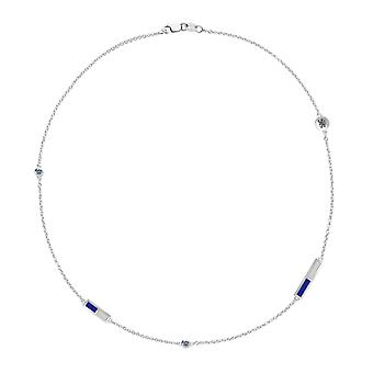 Chelsea Fc Lion Logo Engraved White Sapphire 5-Station Necklace In Blue And Light Grey
