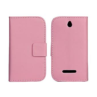 Wallet Case Sony Xperia E, art leather, pink