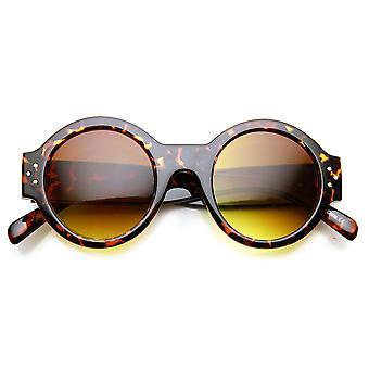 Bold Retro Chucky Circle Thick Frame Metal Rivet Round Sunglasses