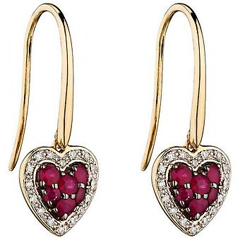 Elements Gold Ruby and Diamond Heart Earrings - Red/Gold/Silver