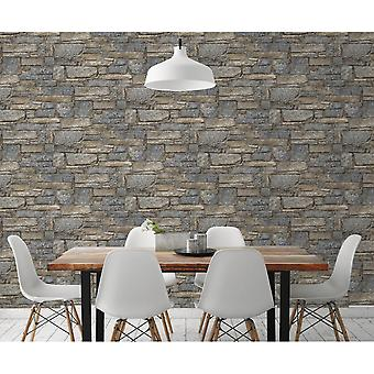 Grandeco Grandeo Chalet Stone 3D Effect Realistic Stone Slate Smooth Wallpaper A37003