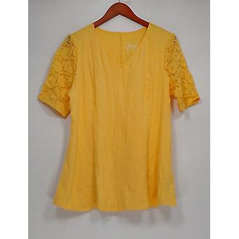 Denim & Co. Donne's Top Fit & Flare Stretch Pizzi Giallo A290115