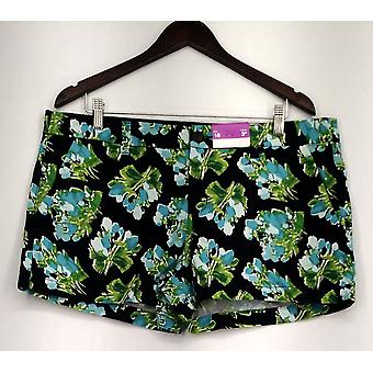 Merona Shorts Top Stitch 4 Pocket Floral Print Blue Womens