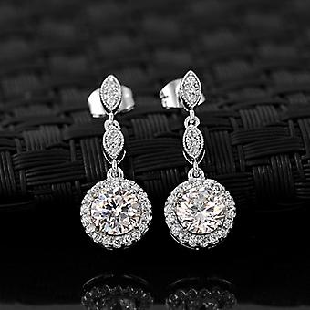 18K Gold Plated Cubic Zirconia White Moon Earrings