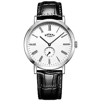 Rotary Mens Windsor Offset Stainless Steel Case Leather Strap GS05310/01 Watch