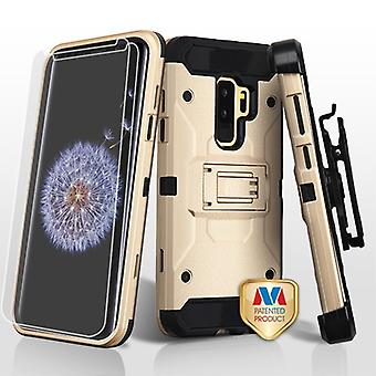 MYBAT Gold/Black 3-in-1 Kinetic Hybrid Protector Cover Combo (w/ Holster)(Twin Screen Protectors) for Galaxy S9 Plus