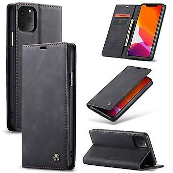 Beskyttende etui faux Skinndeksel til Eple iPhone 11 Pro svart sak lommebok veske