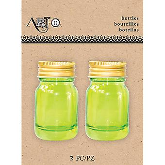 Art-C Mini Glass Bottles-Mason Green, 2/Pkg MINBOT-24504