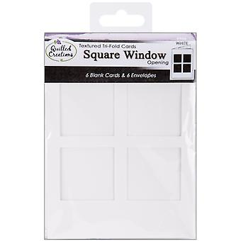Cards & Envelopes 6 Pkg White Tri Fold Square Window Opening Qc90 5