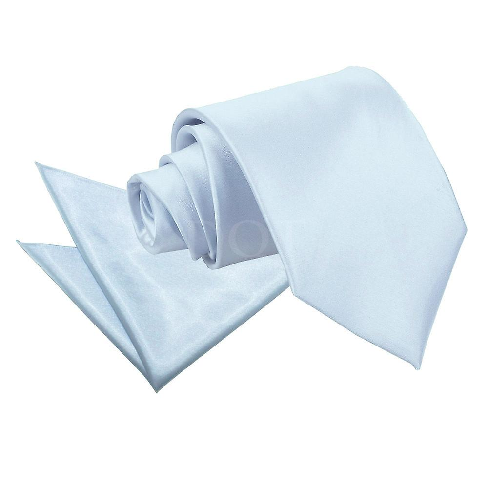 Plain Baby Blue Satin Tie 2 pc. Set