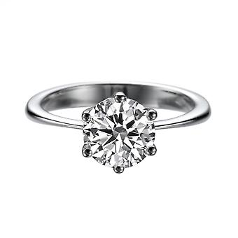 1.55 Carat E SI2 Diamond Engagement Ring 14K White Gold Solitaire Classic 6 prongs
