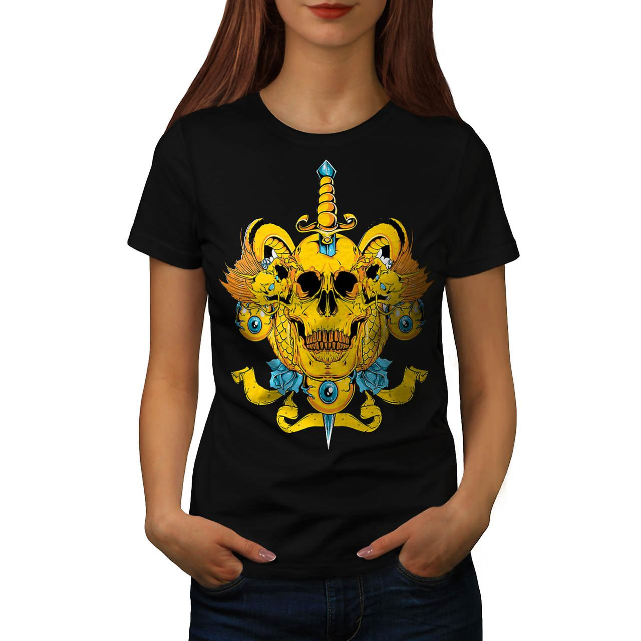 Sword Skull Head Dead Devil Eyes Women Black T-shirt | Wellcoda