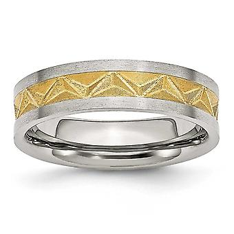 Stainless Steel Satin and Gold-plated Ladies 6mm Band Ring - Size 6.5