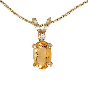 14k Yellow Gold Oval Citrine And Diamond Filagree Pendant with 18