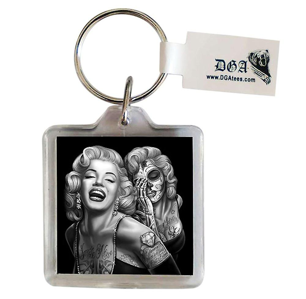 DGA Tees Smile Now Keychain Keyring Accessory Marilyn Monroe Tattoo Sugar Skull