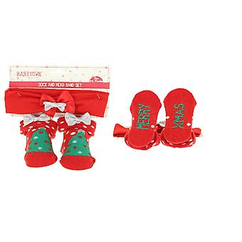 Baby Girls Cute Xmas Tree Festive Christmas Socks And Bow Headband Set