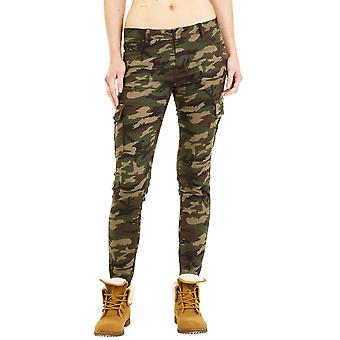 Skinny Camouflage Cargo Pants - Green