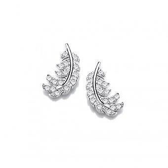Cavendish French Silver and CZ Feather Earrings