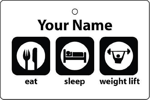 Personalised Eat Sleep Weight Lifting Car Air Freshener