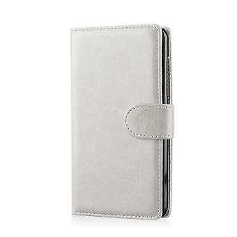 Book wallet PU leather case cover for Motorola Moto E (XT1021) 2013 edition + stylus - White