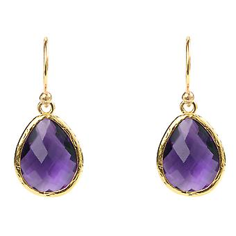 Latelita Earrings Purple Amethyst Gemstone Gold Hook Tear Drop Teadrop Small
